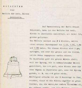 Ekspertyza dzwonów w kościele pw. św. Marcina w Jarocinie, 1906 r.