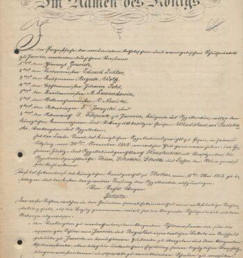 Wyrok sądowy dotyczący lokali szkolnych w ratuszu, 1866 r.