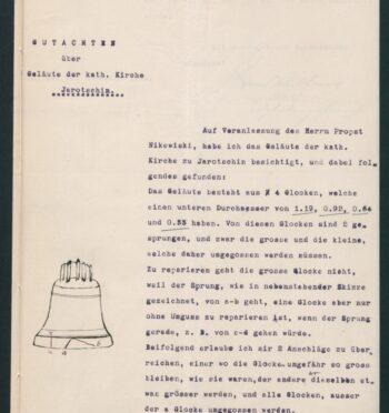 Ekspertyza w sprawie zespołu dzwonów w kościele katolickim, 1906 r.