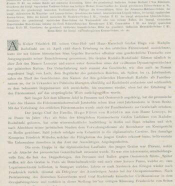 Notka biograficzna o Hugonie von Radolinie, 1888 r.?